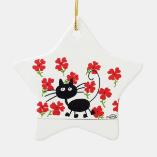 Cartoon Black Cat and red flowers Christmas Ornament