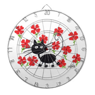 Cartoon Black Cat and red flowers Dartboard
