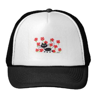 Cartoon Black Cat and red flowers Mesh Hat