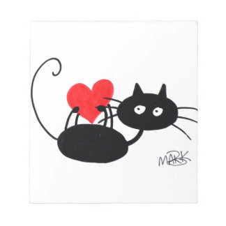 Cartoon Black Cat and red heart Notepad
