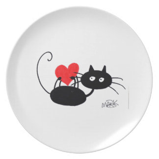 Cartoon Black Cat and red heart Plate