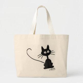 Cartoon Black Cat Tote Bags