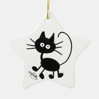 Cartoon Black Cat Ceramic Star Decoration