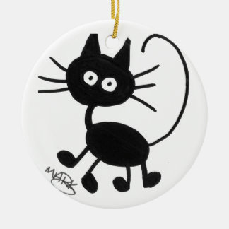 Cartoon Black Cat Christmas Ornament
