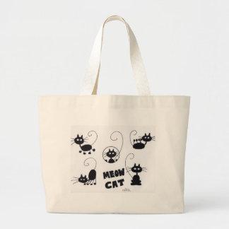 Cartoon Black Cat - lots of meows Tote Bags