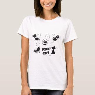 Cartoon Black Cat - lots of meows T-Shirt
