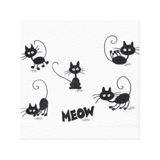 Cartoon Black Cat on Canvas Stretched Canvas Prints