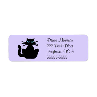 Cartoon Black Cat with Blue Eyes Lavender Return Return Address Label