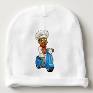 Cartoon Black Chef Delivery Moped Baby Beanie
