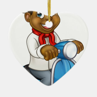 Cartoon Black Chef Delivery Moped Christmas Ornament