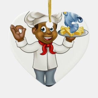 Cartoon Black Chef Fish and Chips Ceramic Heart Decoration