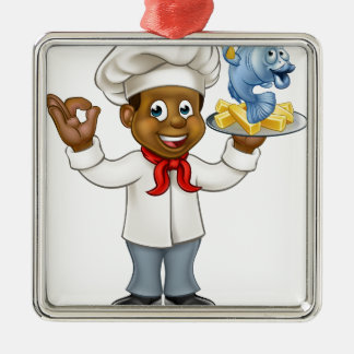 Cartoon Black Chef Fish and Chips Silver-Colored Square Decoration