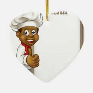 Cartoon Black Chef Menu Ceramic Heart Decoration