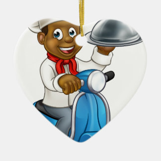 Cartoon Black Chef on Moped Scooter Ceramic Heart Decoration