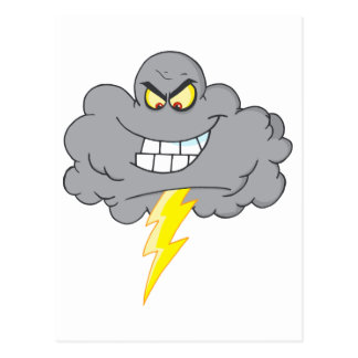 Cartoon Black Cloud With Lightning Postcard