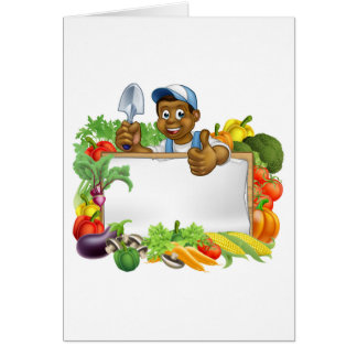 Cartoon Black Gardener Sign Card