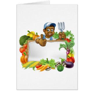 Cartoon Black Gardener Vegetables Sign Card
