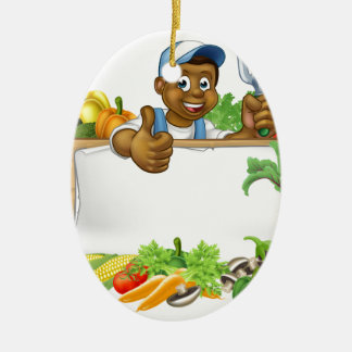 Cartoon Black Gardener Vegetables Sign Ceramic Oval Decoration