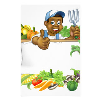 Cartoon Black Gardener Vegetables Sign Custom Stationery