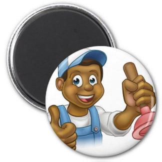 Cartoon Black Plumber Handyman Holding Punger 6 Cm Round Magnet