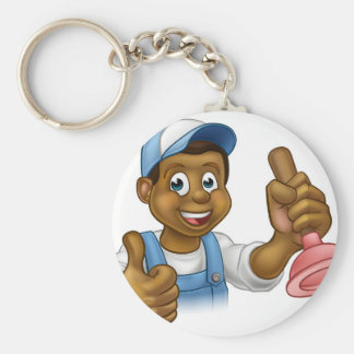 Cartoon Black Plumber Handyman Holding Punger Basic Round Button Key Ring