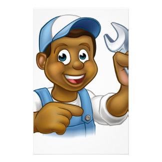 Cartoon Black Plumber Mechanic or Handyman Personalised Stationery