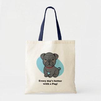 Cartoon Black Pug Bag