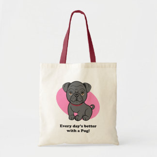 Cartoon Black Pug Bag