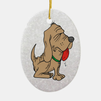 cartoon bloodhound ceramic oval decoration