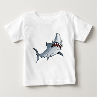 Cartoon blue and grey great killer shark baby T-Shirt