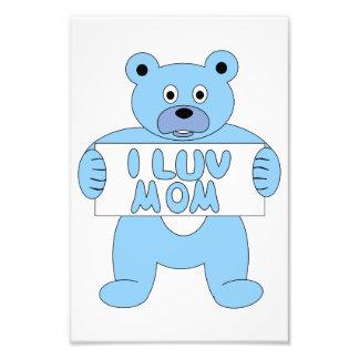 Cartoon Blue Bear I Luv Mom (I Love Mom) Photograph