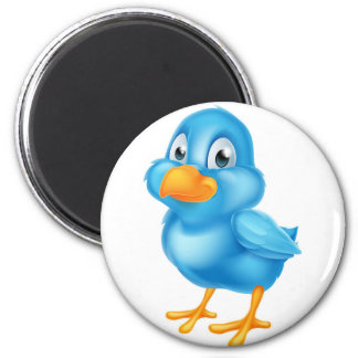 Cartoon Blue Bird 6 Cm Round Magnet