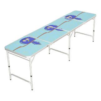 cartoon blue birds table