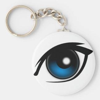 Cartoon blue eye basic round button key ring