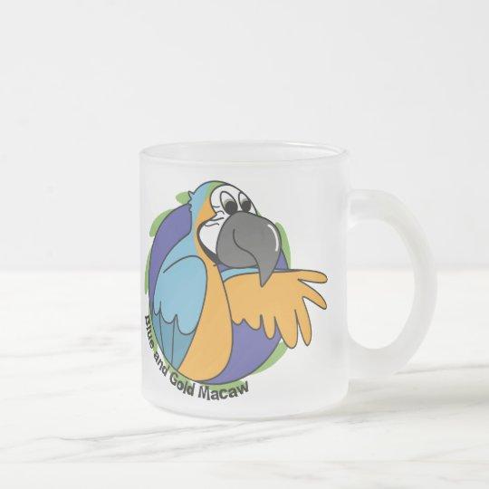 Cartoon Blue & Gold Macaw Frosted Glass Coffee Mug