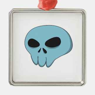 cartoon blue skull christmas ornament