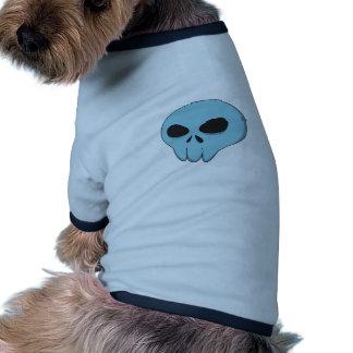 cartoon blue skull ringer dog shirt