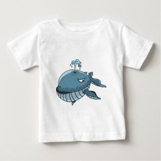 Cartoon blue whale sea giant floating on the water baby T-Shirt