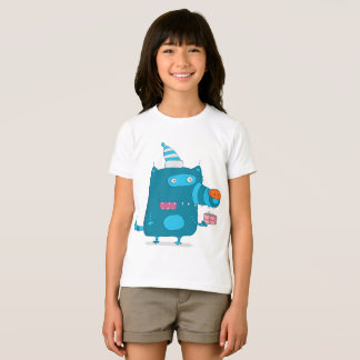 Cartoon Blue Wolf Girls T-Shirt