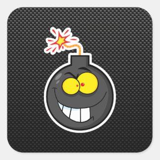 Cartoon Bomb; Sleek Square Sticker
