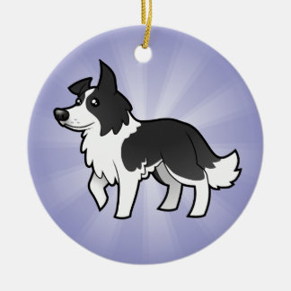 Cartoon Border Collie (add your own message) Christmas Ornament