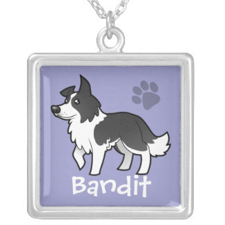 Cartoon Border Collie (add your pets name) Square Pendant Necklace