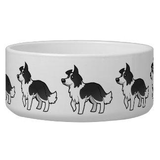 Cartoon Border Collie Pet Food Bowls