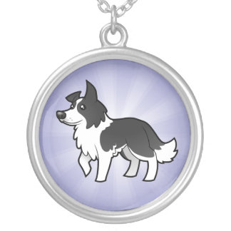 Cartoon Border Collie Silver Plated Necklace
