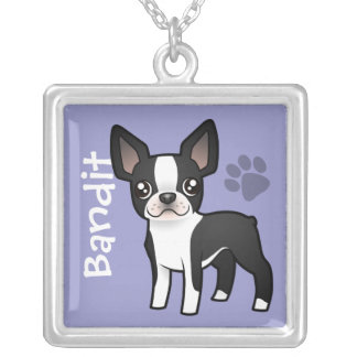Cartoon Boston Terrier (add your pets name) Silver Plated Necklace