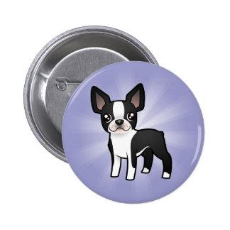 Cartoon Boston Terrier Buttons