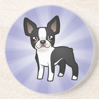Cartoon Boston Terrier Coaster