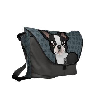 Cartoon Boston Terrier Courier Bag