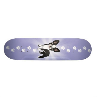 Cartoon Boston Terrier Custom Skate Board