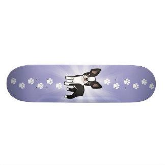 Cartoon Boston Terrier Custom Skate Board